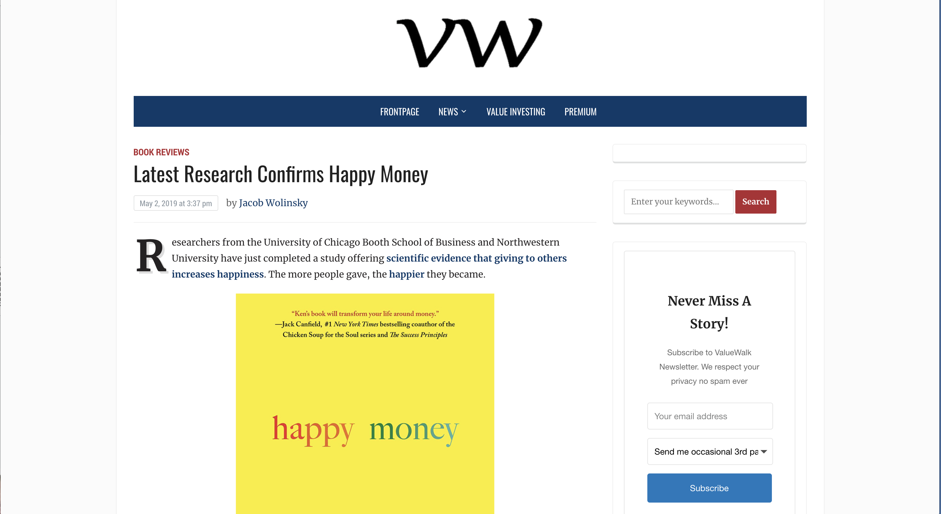 Value Walk: Latest Research Confirms Happy Money